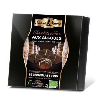 Coffret de chocolats noir bio aux alcools de 125 g 373786