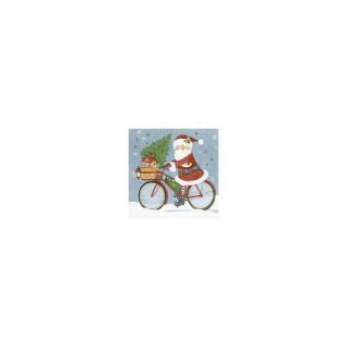 Serviettes x20 3 plis 33x33 cm Santa on a bike 378355