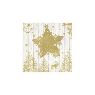 Serviettes x20 3 plis 33x33 cm Winter print gold 378360