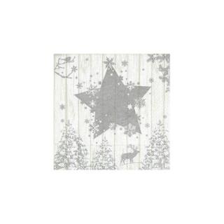 Serviettes x20 3 plis 33x33 cm Winter print silver 378362