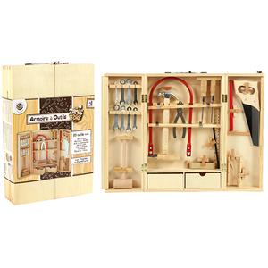 Petite armoire établi en bois avec outils 26x40x8,5 cm 378936