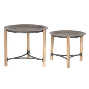 Selette ronde bois plateau gris - Petit modèle 378964