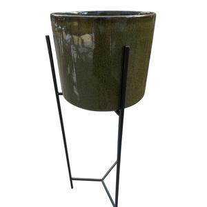Porte-plante pot en céramique marron foncé 379011