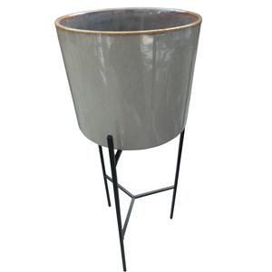 Porte-plante pot en céramique marron clair 379012