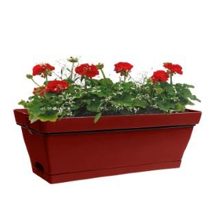 Jardinière Roméo rouge avec soucoupe et support L49x l28xH19 cm 379253