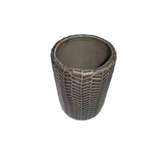 Pot à brosse à dent Gris en céramique Ø 7 x H 10,4 cm 379478