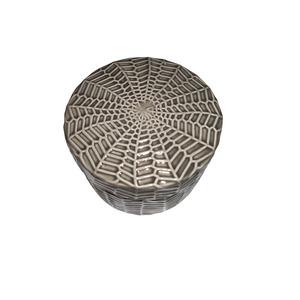 Boite à coton Gris en céramique Ø 10,5 x H 7,7 cm 379479