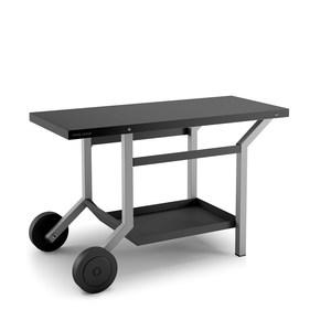 Table roulante en acier noir et gris mat 379935