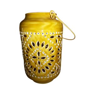 Lanterne soleil jaune en fer H 25 x Ø 15 cm 380657