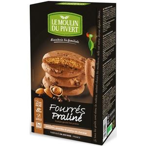 Biscuits fourrés praliné bio Moulin du Pivert en boite de 175 g 381050