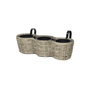 Jardinière à triple pots gamme Rio avec support L50x l17x H15 cm 381957