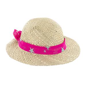 Chapeau de paille enfant Stella avec ruban rose taille 52 Ø 25 cm 388717