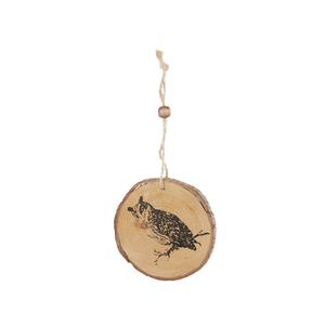 Disque en bois à suspendre à motif hibou – Ø 8 cm 396825