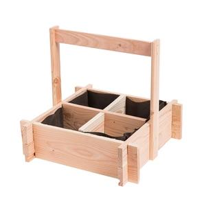 Panier potager 4 cases 52 x 52 x 16 cm avec anse et feutre géotextile 399238