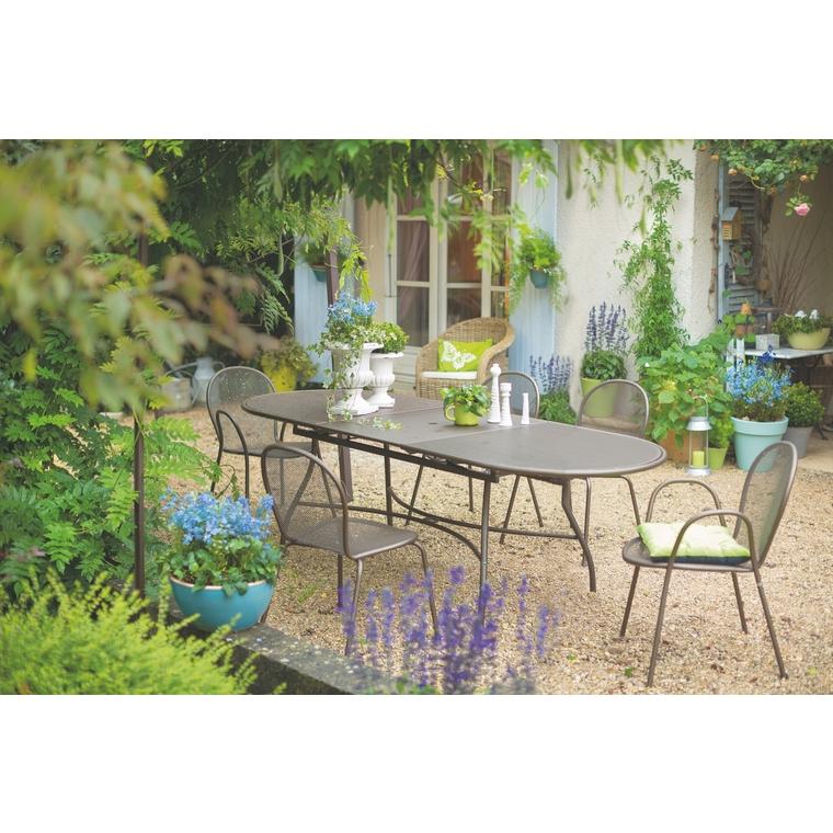 Table de jardin extensible Evo EMU Marron d\'Inde 180/240 x ...