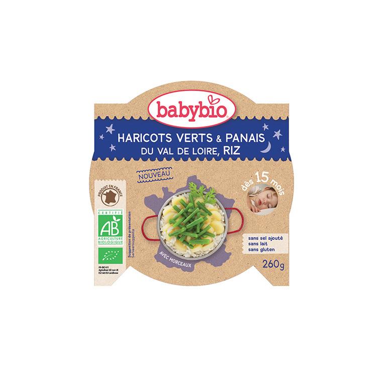 Pots de panais haricots verts et riz bonne nuit Babybio 2 x 200 g 300887