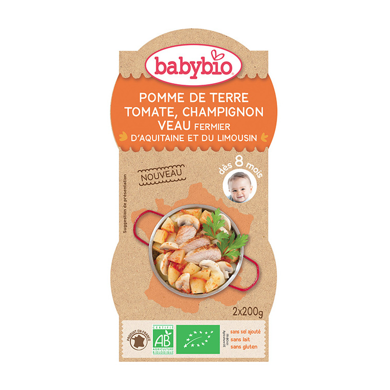Pots de pomme de terre tomate champignon et veau Babybio 2 x 200 g 300888