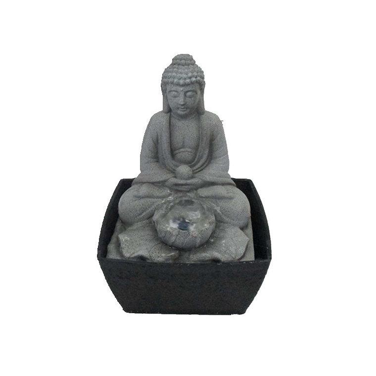 Fontaine Bouddha résine 13x13x17 cm 301158