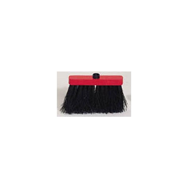 Brosse balai en fibre végétale palmira rouge/marron 24 cm 307361
