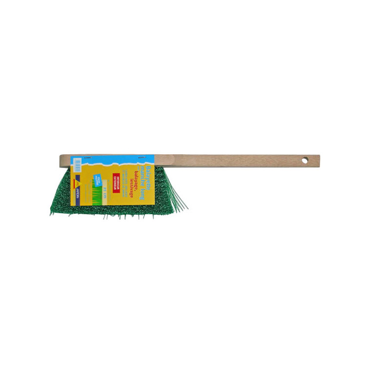 Balayette à long manche beige/vert 41 cm 307363