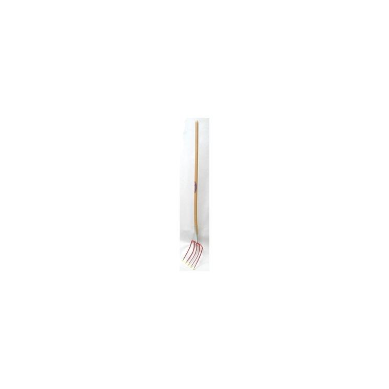 Fourche à compost rouge en acier et bois 163 cm 307371