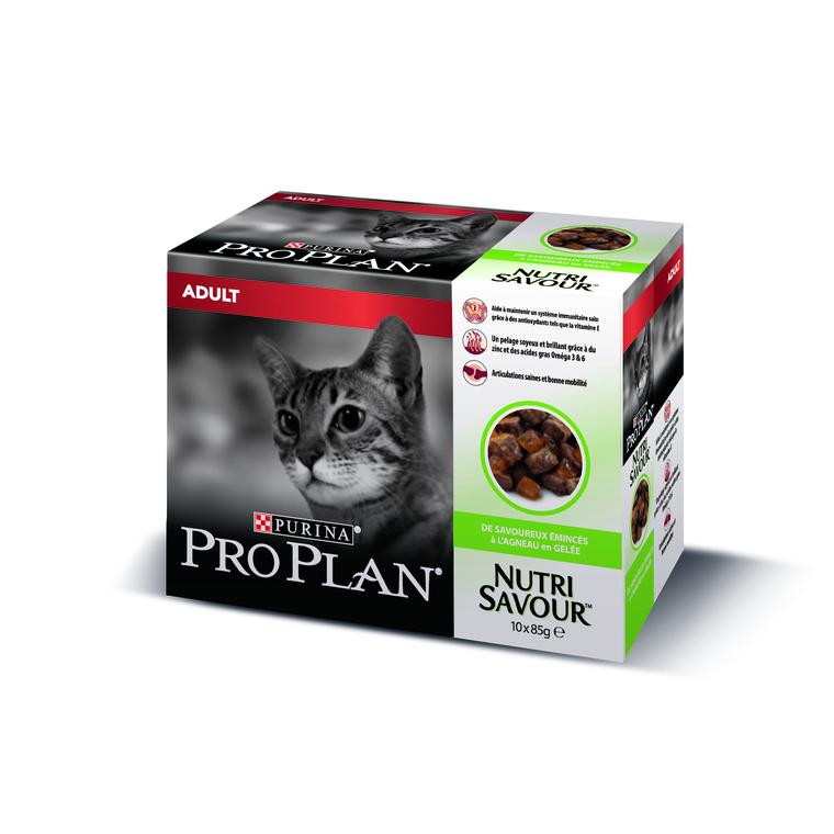 Gelée pour chat adulte à l'agneau Pro plan 10 x 85 g 310074