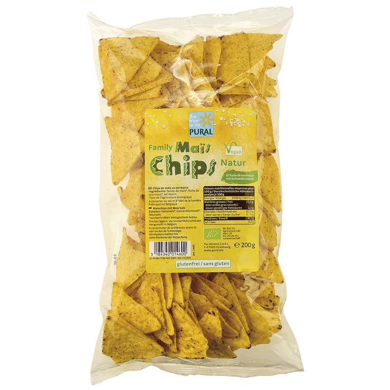 Chips de maïs Family nature en sachet transparent de 200 g 314541