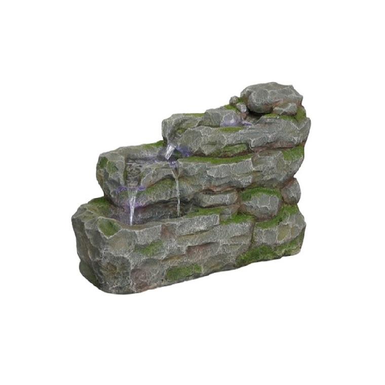 Fontaine muret grise en polyrésine - 55 cm de haut 316903