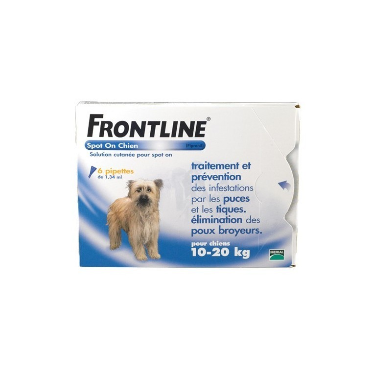 Frontline spot on chien 10-20 kg antiparasitaire x6