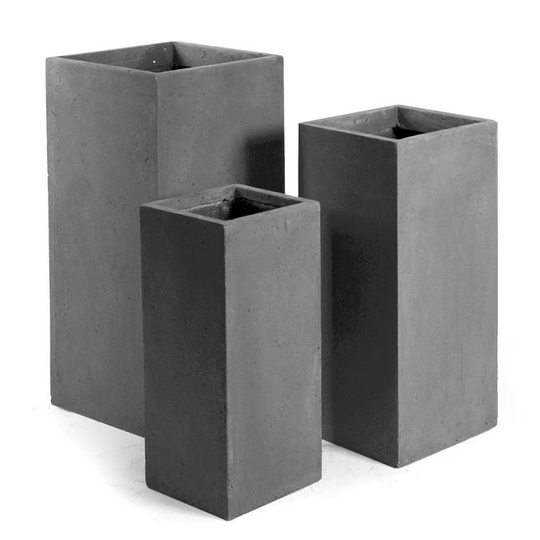 Pot carré haut GENEVE 23x23xH.50 Gris 32095