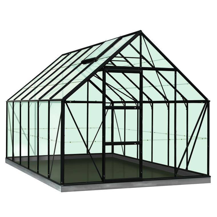 Serre Verre 9,9 m² en aluminium noir 321343