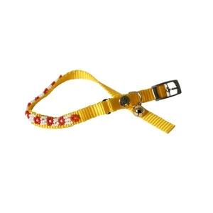 Collier chien fleur 10mm / 30cm jaune