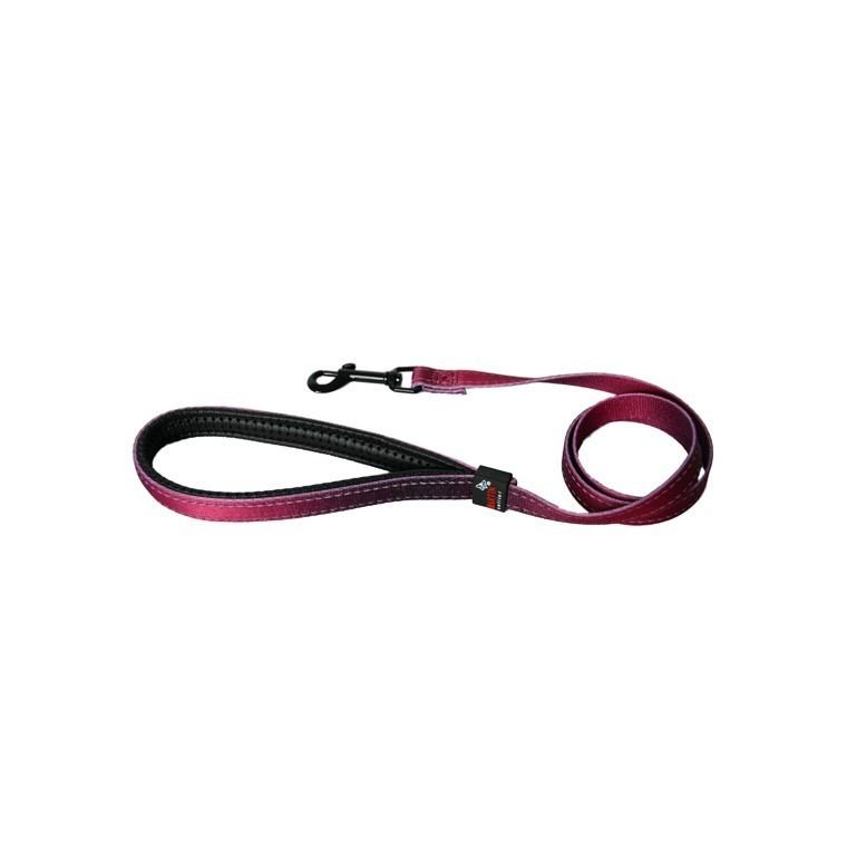 Laisse chien nylon 16 mm / 100 cm bordeaux soie