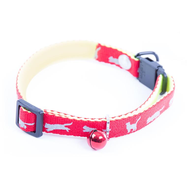 Collier réglable pour chat réfléchissant rouge 25/35x1 cm 323795