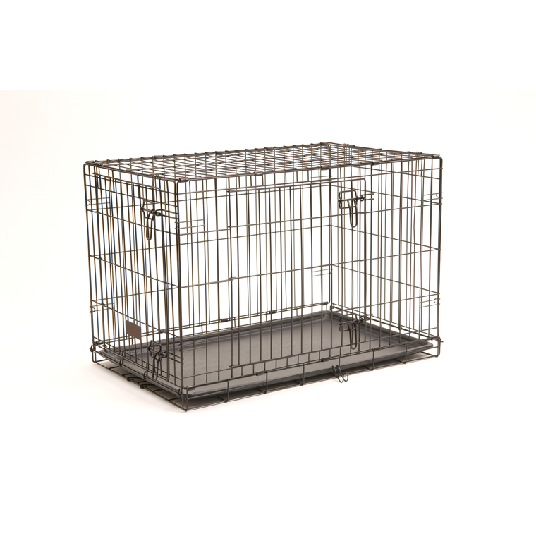 Cage de transport noire à 2 portes 106x71xH76 cm 330376