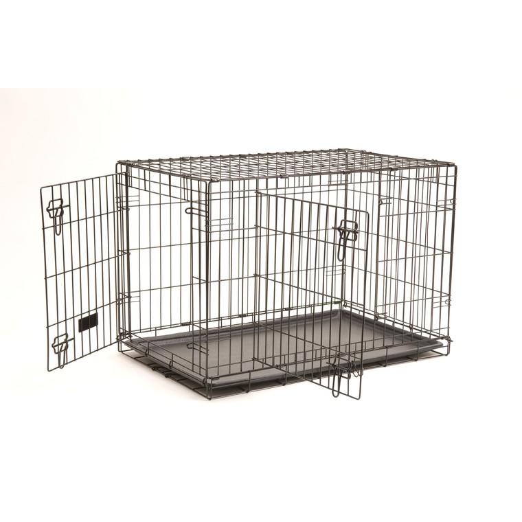 Cage de transport noire pour chien avec 2 portes 121 x 76 x 81 cm 330377