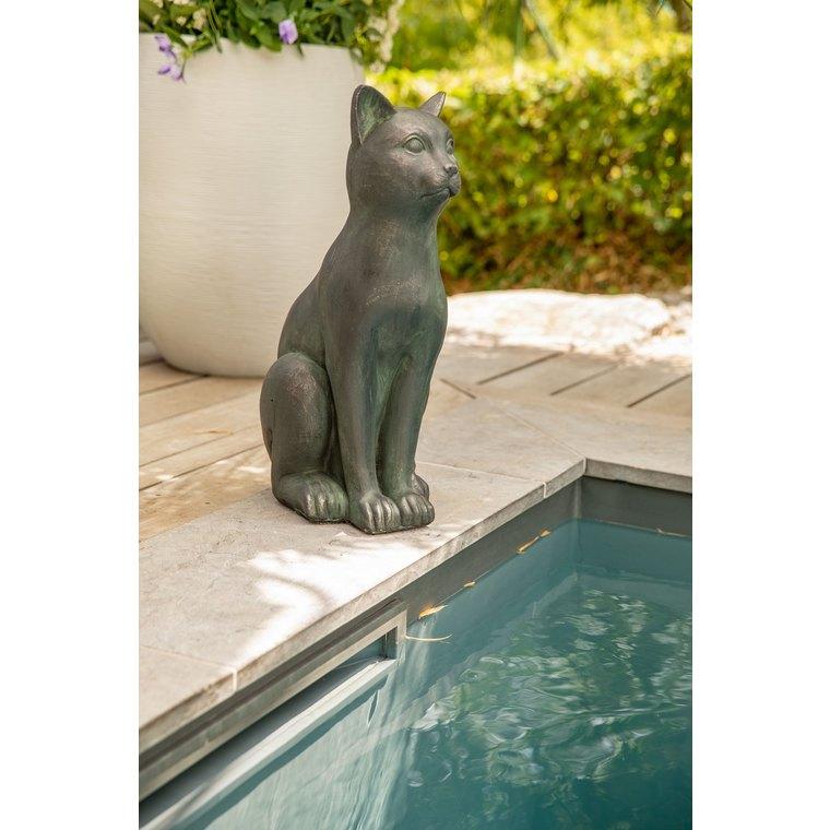Statue de jardin chat décoratif en béton ciré H 58 cm 332611