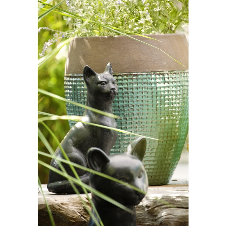 Chat décoratif en béton ciré anthracite Petit modèle 42 cm 332612