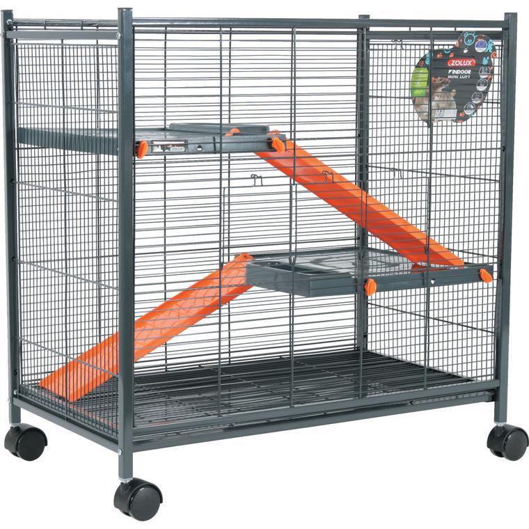 Cage pour rongeurs mini loft indoor orange L. 72 x l. 43 x H. 73 cm 334558