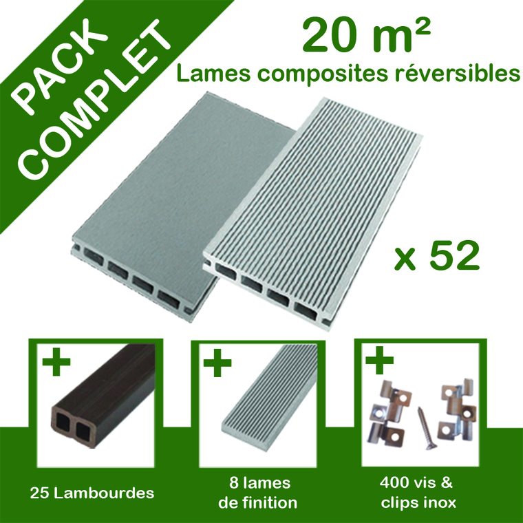 Pack complet terrasse composite gris 20 m2 334788