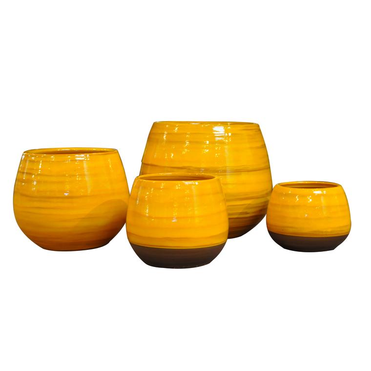 Pot Cancale Ibiza Sunshine en terre cuite émaillée H 17 x Ø 17 cm 334866