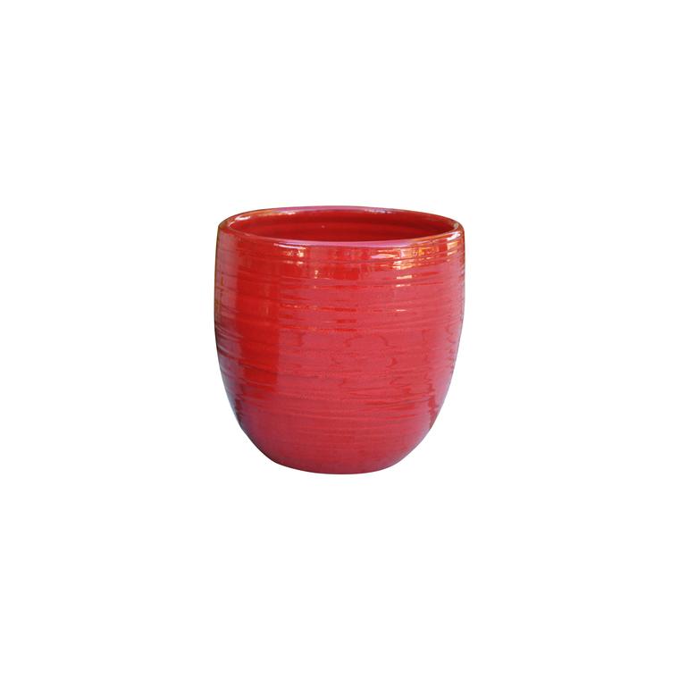 Pot Volupté coquelicot en terre cuite émaillée H 19 x Ø 18 cm
