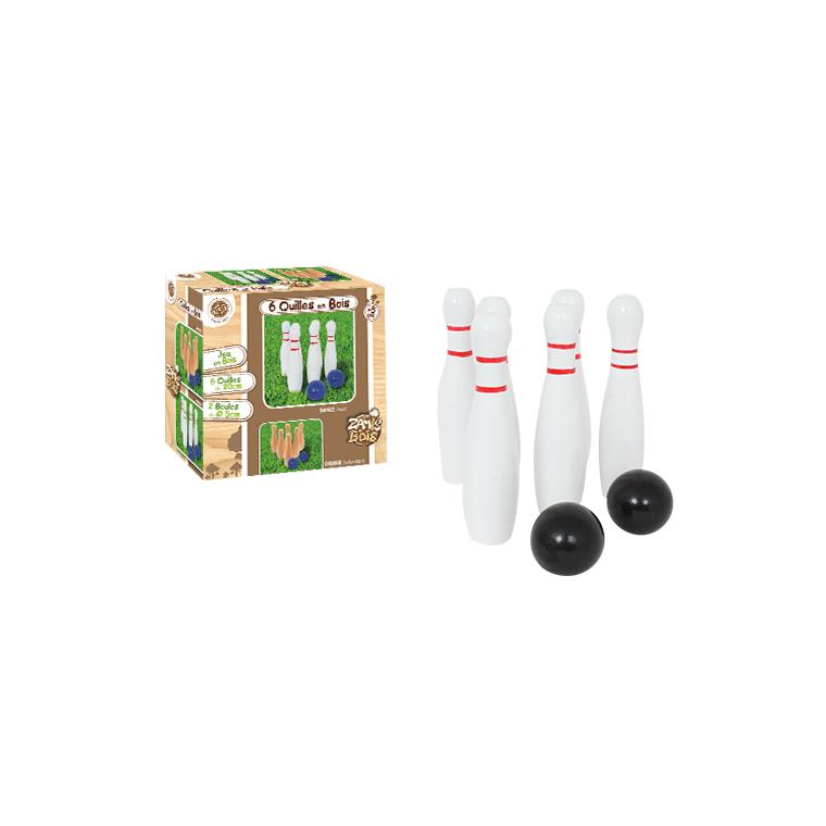 Jeu de quilles x6 avec 2 boules en bois verni blanc 341444