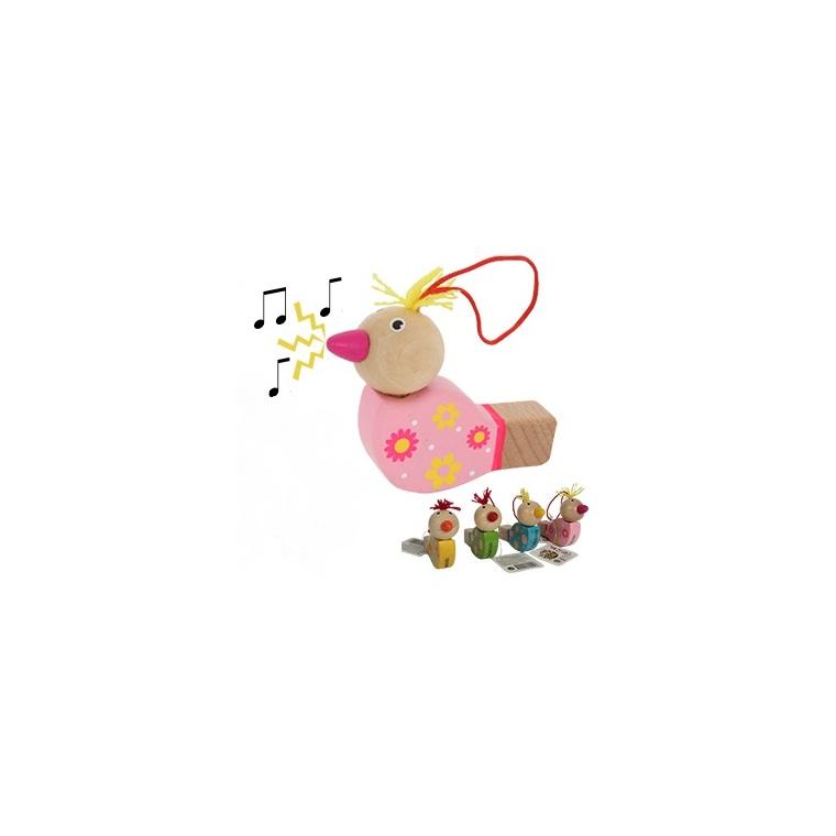 Sifflet oiseau en bois coloris assortis 8x5x2,5 cm 341465