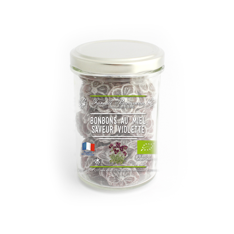 Bonbons bio en forme de fleurs au miel et violette en pot de 130 g 341862