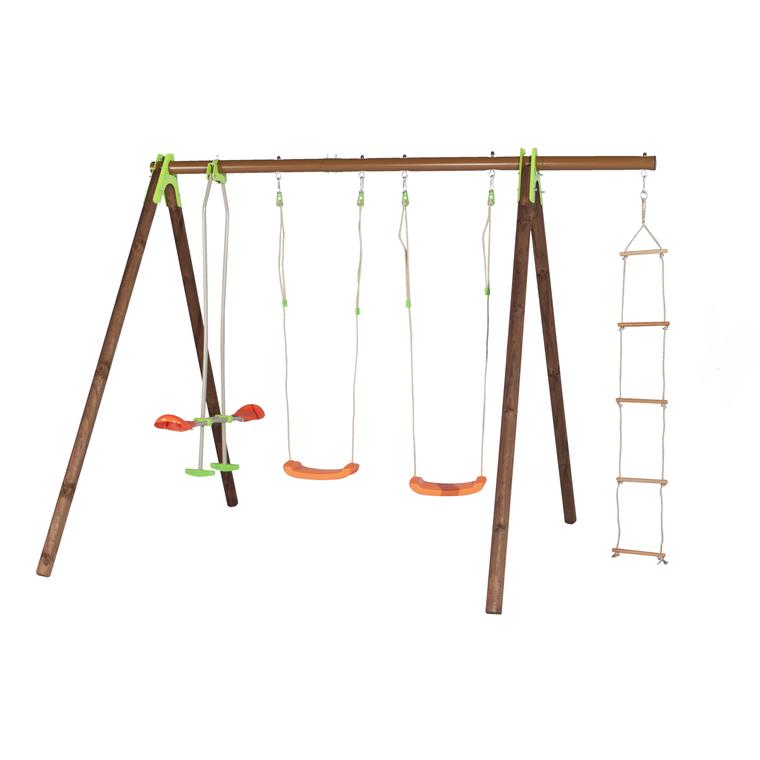 Portique en bois multi-activités avec 2 balançoires, un face à face et une échelle 2,30 m 342251