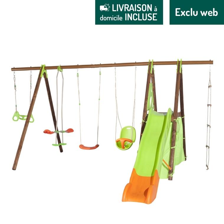 Portique en bois multi-activités dont balançoire, toboggan et cabane 2,30 m 342254