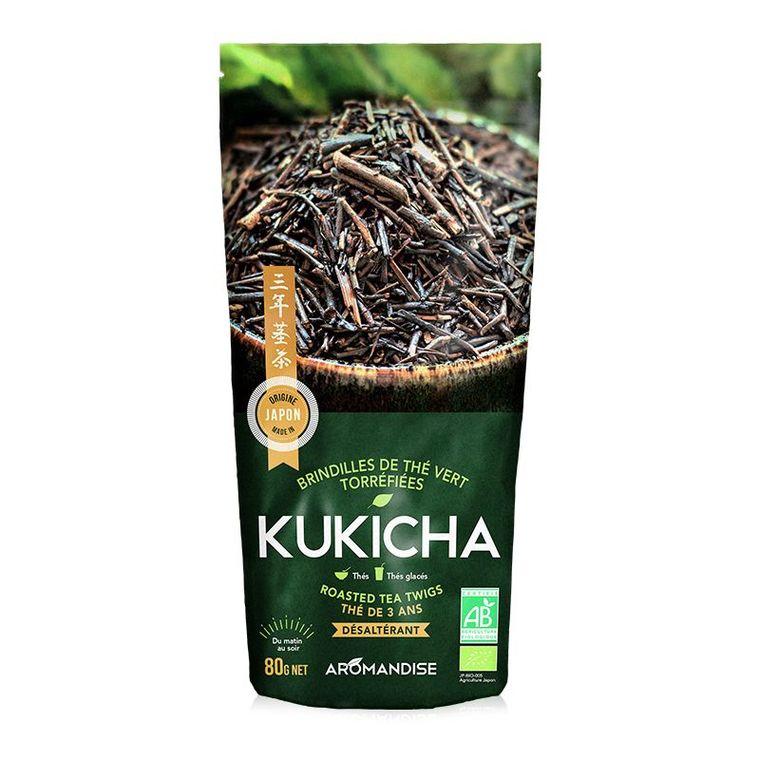 Thé vert de brindilles torréfiées kukicha bio en sachet de 80 g 342652