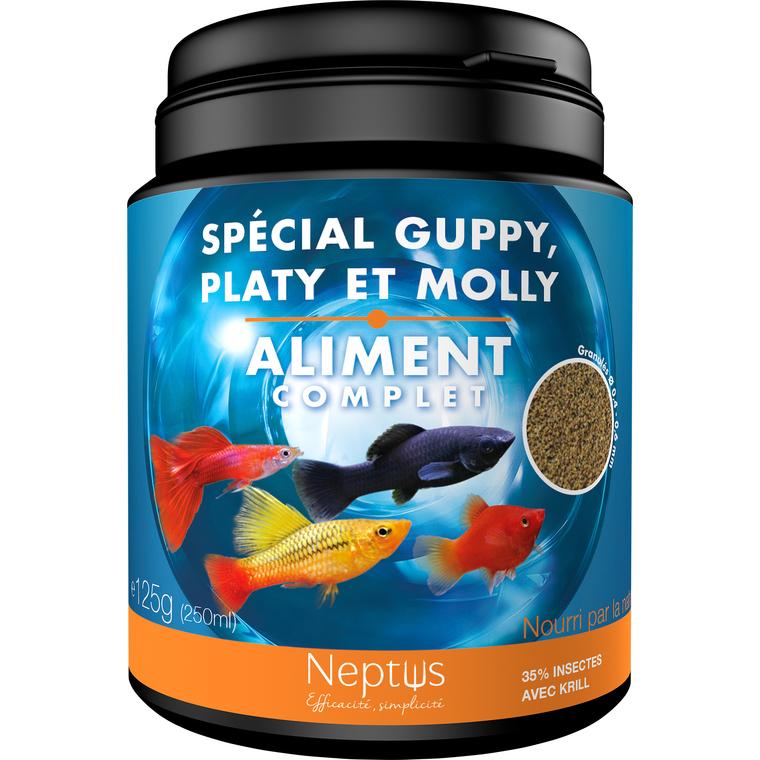 Aliment complet (granulés) pour guppy platy molly - Boîte 250 ml 343009
