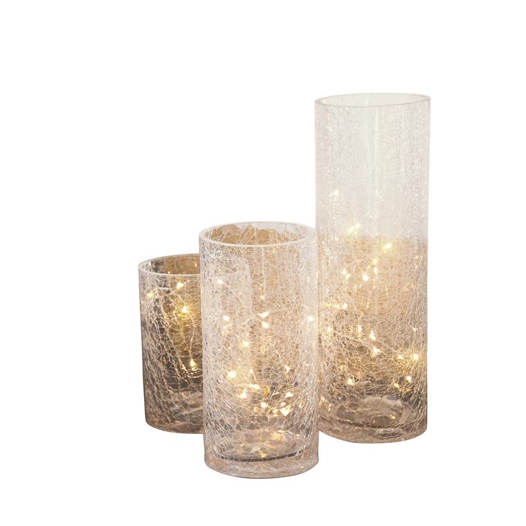 Set 3 Vases Verre Led Blanc Chaud 348509